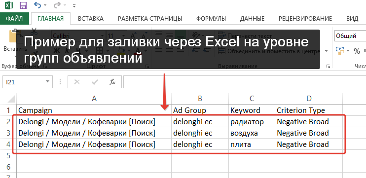 заливка минус-слов, редактор adwords, уровень групп объявлений